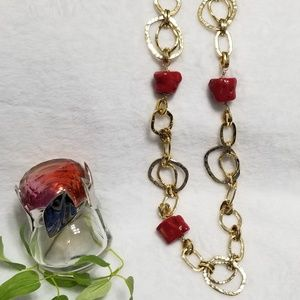Jewelry - Statement Goldtone with Red Chunky Stones Necklace